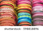 colored bracelets woven from... | Shutterstock . vector #598818896