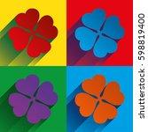 four leaf clover. four leaves... | Shutterstock .eps vector #598819400