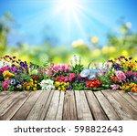 Wooden Desk Flowers Garden  - Fine Art prints