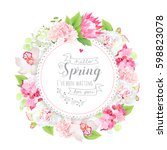 spring floral vector round card ... | Shutterstock .eps vector #598823078