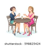 girls in street cafe. young... | Shutterstock .eps vector #598825424