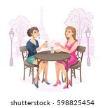 girls in street cafe. young... | Shutterstock .eps vector #598825454