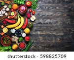 vegetables and fruits on a... | Shutterstock . vector #598825709
