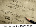 old yellowed paper with maths... | Shutterstock . vector #598826390