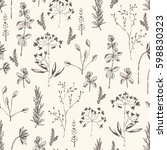 floral seamless pattern with... | Shutterstock .eps vector #598830323