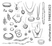 vector collection of sketches... | Shutterstock .eps vector #598831823