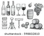wine stuff illustration ... | Shutterstock .eps vector #598832810