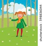 little girl walks in the spring ... | Shutterstock .eps vector #598836044