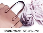 fashion bag and scarf isolated  | Shutterstock . vector #598842890