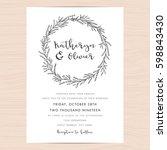 modern black and white wedding...   Shutterstock .eps vector #598843430
