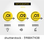 infographic steps with yellow... | Shutterstock .eps vector #598847438