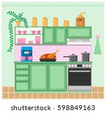 interior of a kitchen. grinder ... | Shutterstock .eps vector #598849163