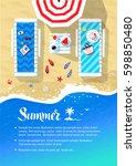 summer vacation flyer design... | Shutterstock .eps vector #598850480
