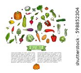 hand drawn doodle vegetables... | Shutterstock .eps vector #598852304