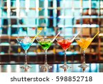 multicolored cocktails at the... | Shutterstock . vector #598852718