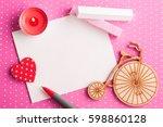 Blank Card On Pink Polka Dot...