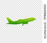 flying plane sign. side view.... | Shutterstock .eps vector #598860404