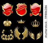 set of heraldic gold and red... | Shutterstock .eps vector #59886286