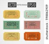collection retro cinema ticket. ... | Shutterstock .eps vector #598862909