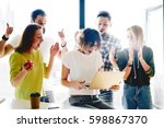 team of successful freelancers... | Shutterstock . vector #598867370