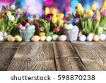 Easter Background. Old Wooden...
