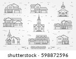 set of thin line icon suburban... | Shutterstock .eps vector #598872596