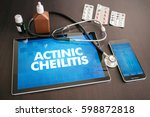 Small photo of Actinic cheilitis (cutaneous disease) diagnosis medical concept on tablet screen with stethoscope.