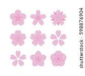 set of simple vector sakura... | Shutterstock .eps vector #598876904