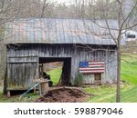 Wooden American Flag On Barn