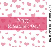 happy valentine's day card pink ... | Shutterstock . vector #598880774