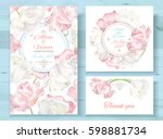 vector wedding invitations set... | Shutterstock .eps vector #598881734