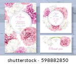 Stock vector vector wedding invitations set with pink peony and white tulip flowers on white background 598882850