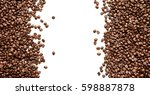 coffee beans isolated on white... | Shutterstock . vector #598887878