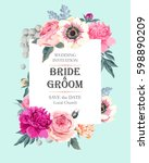 vintage wedding invitation | Shutterstock .eps vector #598890209
