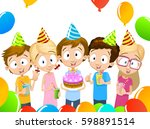 group of adorable kids having... | Shutterstock .eps vector #598891514