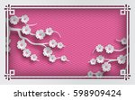 floral background with oriental ... | Shutterstock .eps vector #598909424