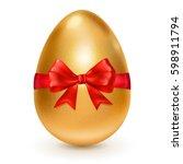 realistic golden easter egg... | Shutterstock .eps vector #598911794