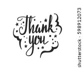 thank you lettering. hand drawn ... | Shutterstock .eps vector #598912073