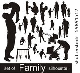 set of family silhouettes. | Shutterstock .eps vector #59891512