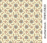 vector vintage floral... | Shutterstock .eps vector #598915820