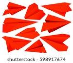paper plane flat icons set.... | Shutterstock .eps vector #598917674