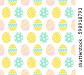 happy easter  cute seamless... | Shutterstock .eps vector #598918793