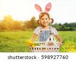 happy easter  pretty child girl ... | Shutterstock . vector #598927760