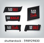 a set of black paper sale... | Shutterstock .eps vector #598929830
