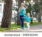 sport family. mother and baby... | Shutterstock . vector #598930340