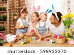happy easter  family mother ... | Shutterstock . vector #598933370