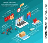 online shopping e commerce 24... | Shutterstock .eps vector #598933640