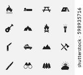 set of 16 editable camping... | Shutterstock .eps vector #598935716