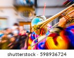 close up of a shiny trumpet... | Shutterstock . vector #598936724