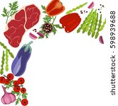 banner of raw food for cooking. ... | Shutterstock .eps vector #598939688
